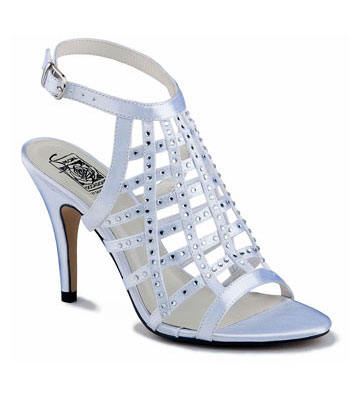 LATOYA White Satin Crisscross Sling w/ Crystals