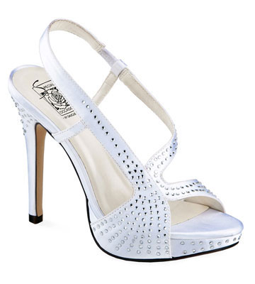 CHARLIZE White Satin Swirl Platform w/ Crystals saugusshoes.com