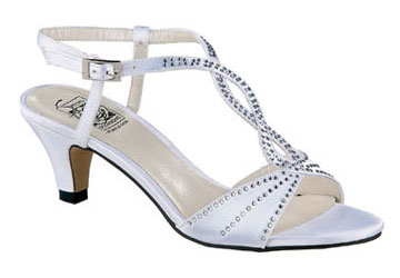 JESS White Satin Swirl T-Strap Slingback
