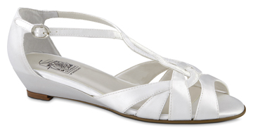 SHANNON White Satin T-Strap Wedge