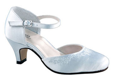 BABS White Satin Mary Jane w/ Embroidery