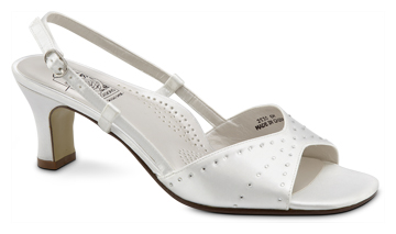 ADELLE White Satin Orthotic Slingback