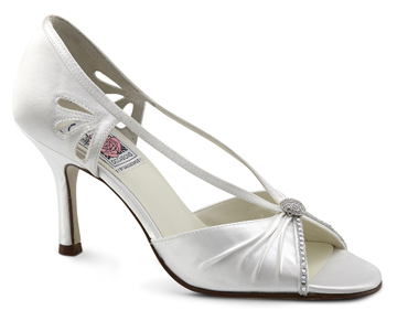 MAGGIE White Satin Silhouette w/ Swarovski Detail