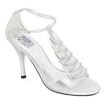HOLLY White Satin Crystal T-Strap