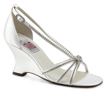 LILY ANN White Satin Wedge Embellished w/ Rhinestones and Crystals