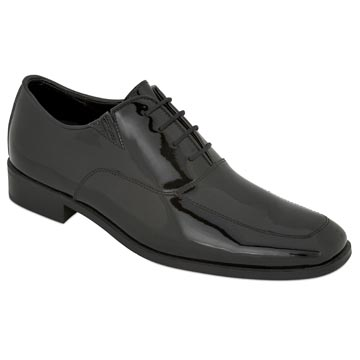 MEN'S BLACK PATENT Black Patent Tux Shoe w/ Elastic Gore