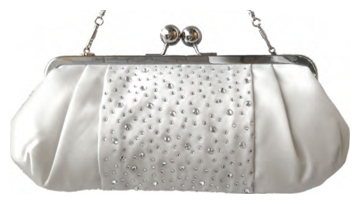 White Satin Handbag w/ Crystals & Silver Chain