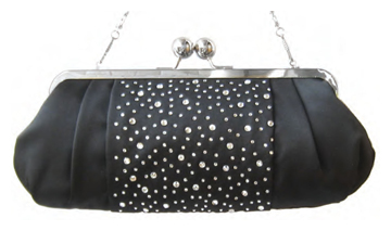 Black Satin Handbag w/ Crystals & Silver Chain