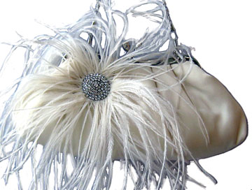 Lt. Ivory Satin Handbag w/ Feathers & Rhinestone Brooch