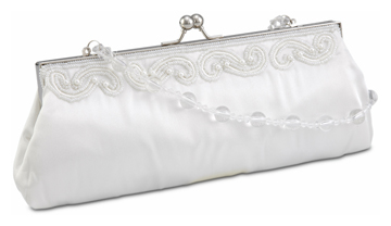 Ivory Satin Clutch w/ Scroll Beading and Clear Beaded Handle